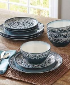 Better Homes & Gardens Teal Medallion 12-Piece Dinnerware Set