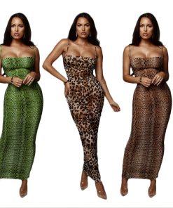 Sexy Leopard Print Snake Skin Dress Women Backless Elegant Bodycon Slim Pencil Dress Plus Size See Through Evening Party Dresses