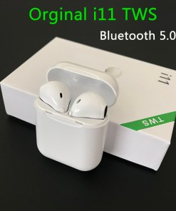 Wireless Earphone Bluetooth Headset I11 Tws 5.0 Touch Binaural Sports Earbug for IOS Smart Android Phone (White)