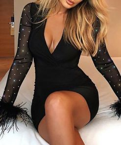 Cathery Women Ladies Bandage Bodycon Long Sleeve Evening Party Cocktail Club Mini Dress