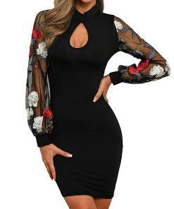Multitrust Sexy Women Floral Mesh Sheer Sleeve Bodycon Party Club Wear Mini Short Pencil Dress