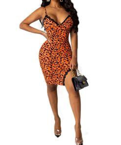 Womens Summer V-neck Leopard Print Lace Bodycon Mini Dress Sleeveless Party Club