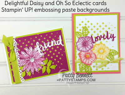 Embossing paste stampin up pattern party mask delightful daisy oh so eclectic card ideas pattystamps patty bennett