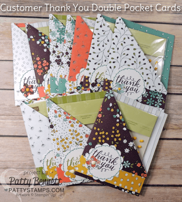Create a Double Pocket Card with your Simply Scored Board and Diagonal Plate from Stampin Up!. Customer Thank You cards featuring Wildflower Fields paper - a free gift choice during Sale a Bration 2016, by Patty Bennett