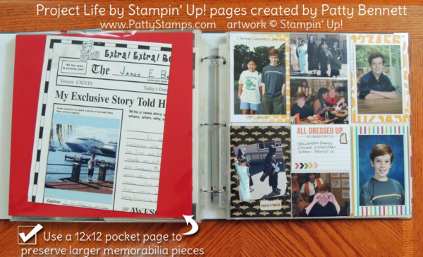 Patty's Project Life by Stampin' Up! pages with tips. Preserve your family photo memories with Project Life. #plxsu