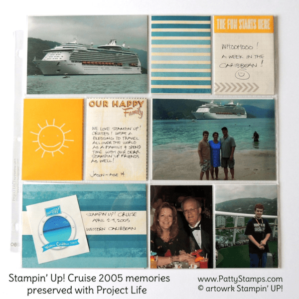 Caribbean Cruise 2005 with Stampin' Up! - Memory Keeping with Project Life Happy Times kit by Patty Bennett #PLXSU