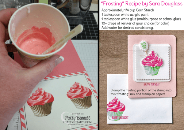 Frosting Recipe for the Sweet Cupcake bundle card with frosting! Stampin' UP! ink, stamps, paper and accessories available at pattystamps.com