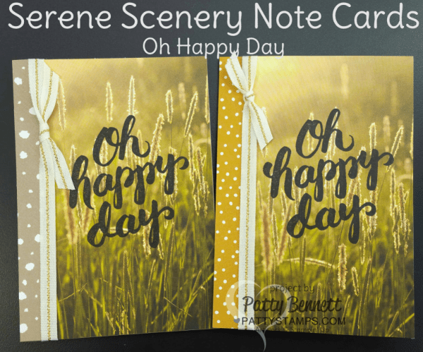 Oh Happy Day Serene Scenery Note Cards by Patty Bennett featuring Stampin' UP! paper stack and stamps.  Easy way to make a whole set of note cards - watch the video tutorial to see how to cut your 6x6 paper to maximize use with the Note Cards.