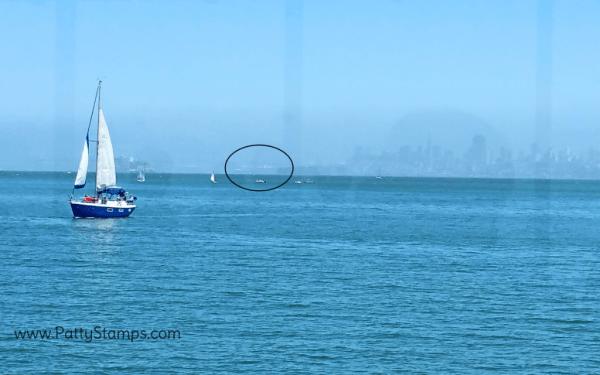 Grand Princess in port in San Francisco,  from the Spinnaker restaurant, Sausalito California