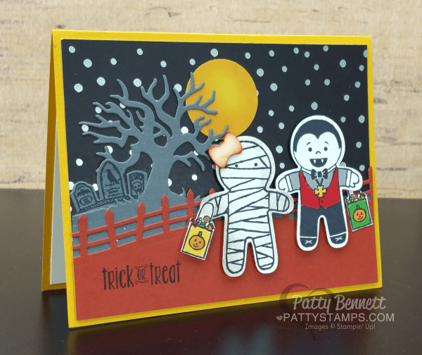 Halloween Trick or Treat card featuring Stampin' UP! Cookie Cutter Halloween mummy, dracula and skeleton.  Halloween Scenes die cut background tree and fence create the perfect backdrop. by Patty Bennett at www.PattyStamps.com