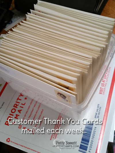 Customer thank you cards pattystamps stampin up