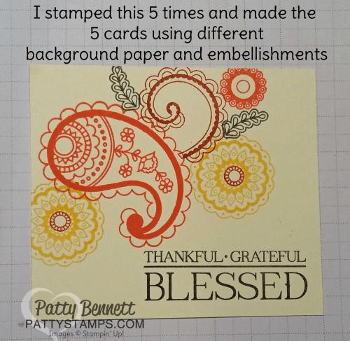Paisleys & posies stamp set card focal point, Stampin Up!