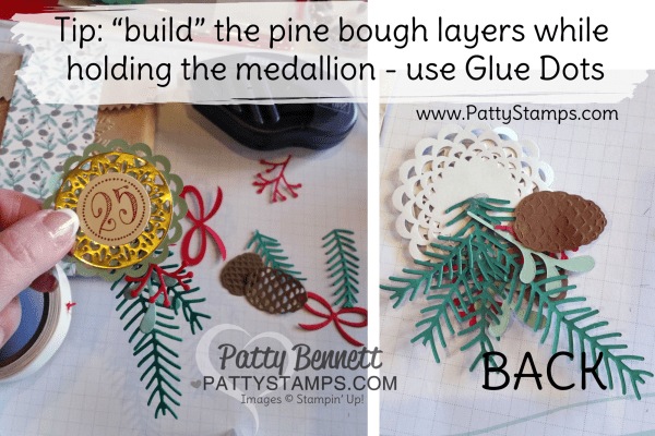 "Tip for ""building"" an embellishment with the Pretty Pines framelits pine boughs and pinecones, by Patty Bennett"