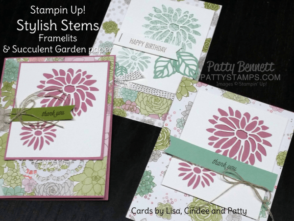Stampin' Up! Occasions catalog 2017 Succulent Garden paper and Stylish Stems framelits floral cards by Patty Bennett, Lisa Rhine and Cindee Wilkinson