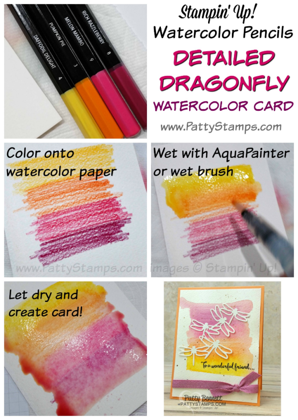 Watercolor pencil background tutorial for the Detailed Dragonfly thinlit cards featuring the watercolor pencil background technique, from the Stampin' Up! 2017 Occasions catalog. Card by Patty