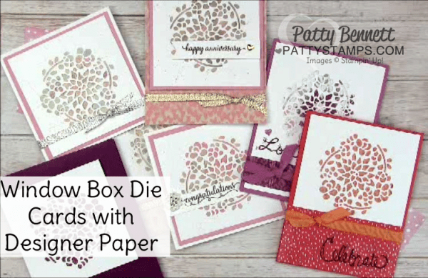Floral Cards featuring Stampin' UP! Window Box thinlit dies and 3x3 scraps of designer paper.  Free Video Tutorial from Patty Bennett