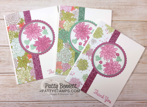 Oh So Succulent stamp set cards featuring Succulent Garden paper and Sale-a-Bration glimmer paper, stitched shape and layering circle framelits from Stampin' Up!  cards by Patty Bennett