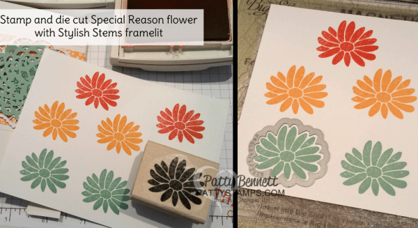 Special Reason flower stamp set from Stampin' UP! die cut with matching Stylish Stems framelits.