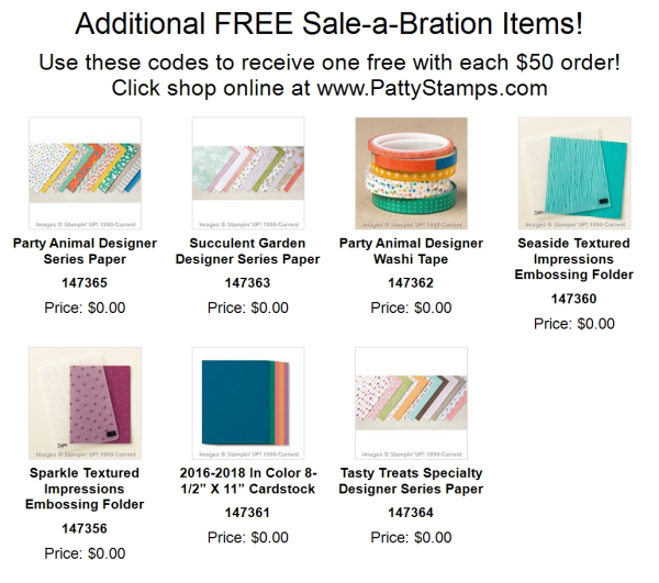 Additional sale a bration product 2017 stampin up pattystamps products