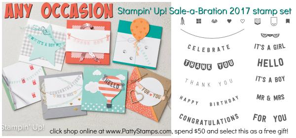 Any occasion sale a bration stampin up set pattystamps