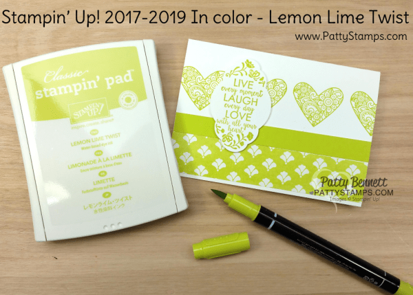 2017 2019 Stampin' UP! In Color Lemon Lime Twist card ideas featuring Ribbon of Courage and Label me Pretty stamp sets, Fresh Florals designer paper, and the Pretty Label Punch, by Patty Bennett