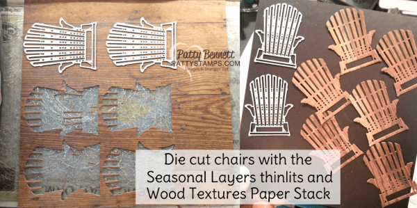 Die cut Adirondack chairs with the Wood Textures paper stack from Stampin Up! and the Seasonal Layers thinlit dies.