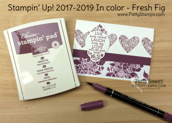2017 2019 Stampin' UP! In Color Fresh Fig card ideas featuring Ribbon of Courage and Label me Pretty stamp sets, Fresh Florals designer paper, and the Pretty Label Punch, by Patty Bennett