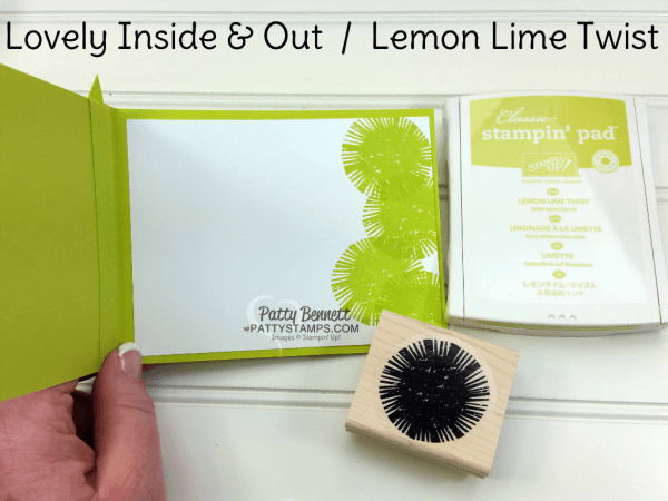 Lovely Inside and Out Lemon Lime Twist Celebrations Duo embossing folder card idea with Stampin' Up! supplies by Patty Bennett
