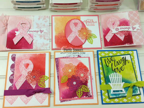 Watercolor paper background smoosh technique featuring Stampin' UP! supplies. Cards featuring the Ribbon of Courage set by Patty Bennett