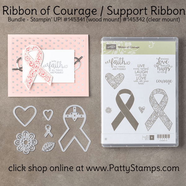 145342 Ribbon of Courage bundle from Stampin Up - click shop online at www.pattystamps.com
