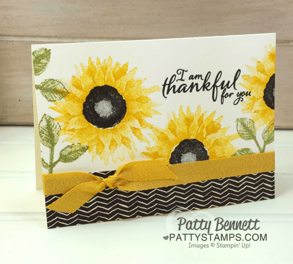 Stamped card idea featuring the Painted Harvest stamp set sunflower by Patty Bennett.  Stampin' UP! 2017 Holiday catalog.
