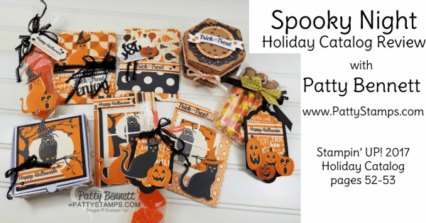 Halloween ideas featuring Stampin' Up! Spooky Night Holiday catalog products. Cards, test tubes, mini pizza boxes, and more! By Patty Bennett