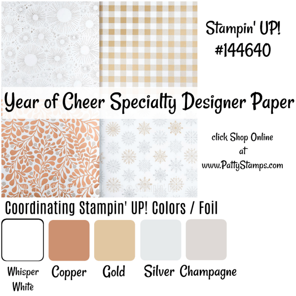 144640 Year of Cheer Stampin Up designer paper - click shop online at www.pattystamps.com
