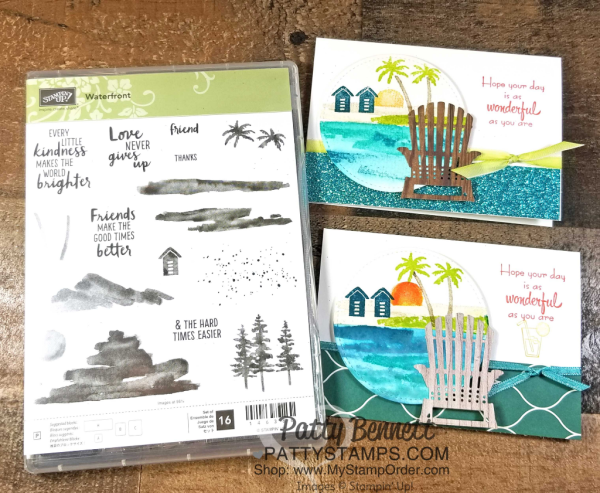 Watercolor tips for the Watefront stamp set - create a beach scene with Aqua Painters! Card by Patty Bennett