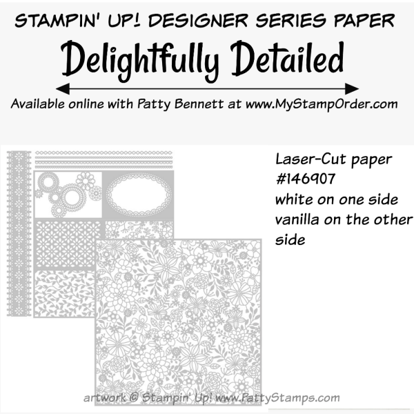 Stampin' UP! Delightfully Detailed Laser Cut designer paper available at www.MyStampOrder.com