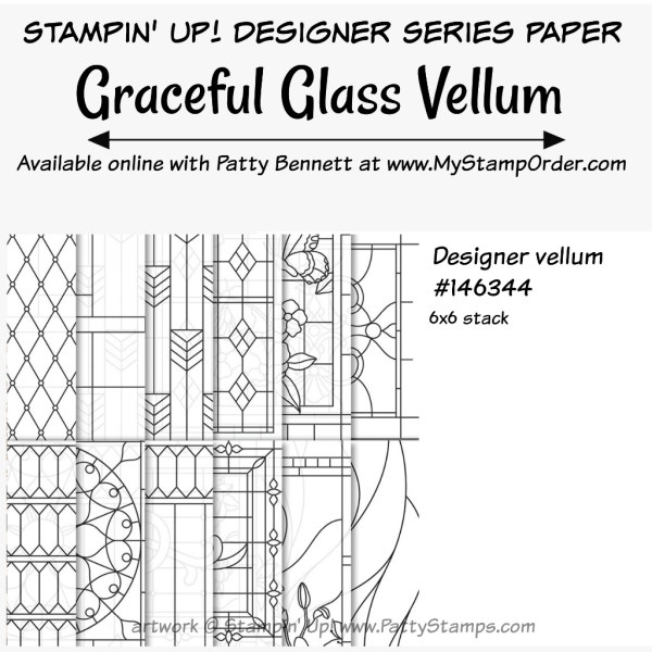 Stampin' UP! Graceful Glass Vellum 6x6 stack designer paper available at www.MyStampOrder.com