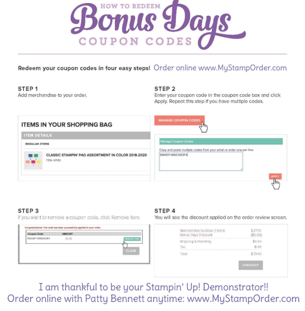 How to redeem your $5 Bonus Days coupon codes from Stampin' UP! (earned in August - Redeem in Sept.). with Patty Bennett www.MyStampOrder.com