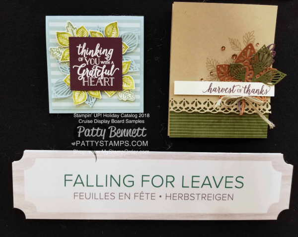 Stampin Up! fall card idea featuring Falling for Leaves stamp set and Detailed Leaves thinlit dies.  www.PattyStamps.com