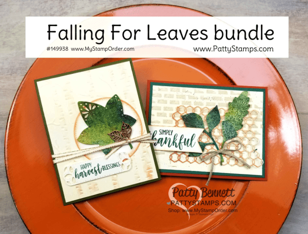 Falling for Leaves fall card ideas featuring Brusho Crystal Colour, watercolor paper, Woodland Embossing Folder, Copper Shimmer paint, chicken wire elements and embossing paste background by Patty Bennett.   Stampin' UP! paper crafting supplies available at www.MyStampOrder.com