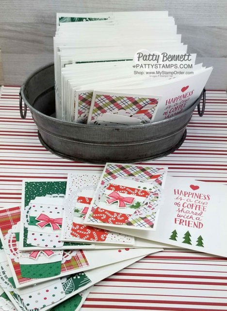 Coffee Cup Framelits Christmas Card Idea featuring Stampin' UP! designer paper and Candy Cane bow punch. Perfect for a Starbucks gift card at the holidays! by Patty Bennett www.PattyStamps.com
