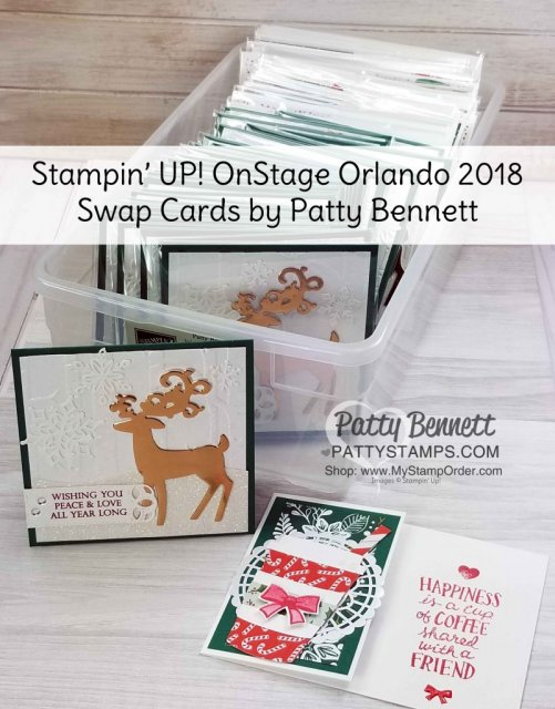 Detailed Deer die cut with Copper Foil Paper on Woodland embossing folder background. Stampin' Up! OnStage 2018