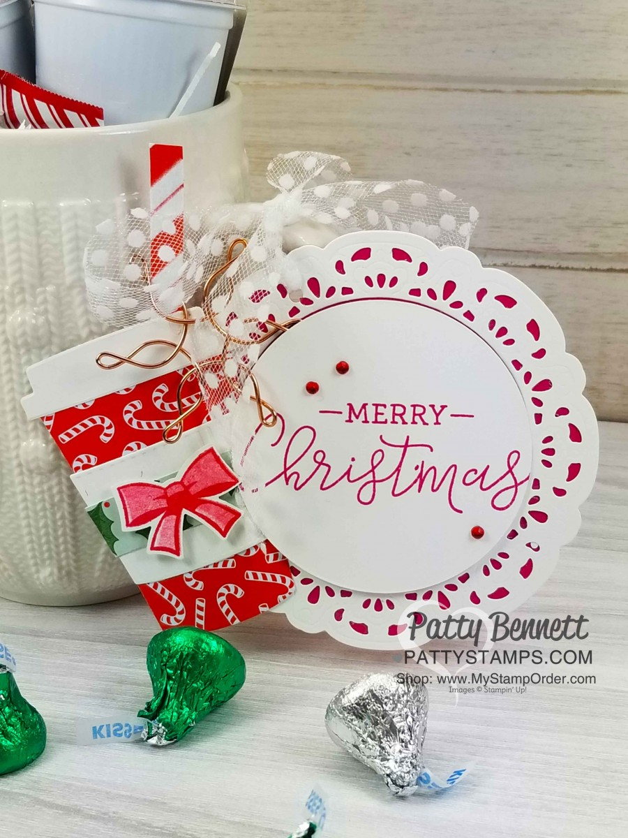 Coffee Gift Tag Secret Santa Gift Red Christmas Coffee Cup Holiday Hanging Tag Wishing You a Whole Latte Holiday Cheer Snowman
