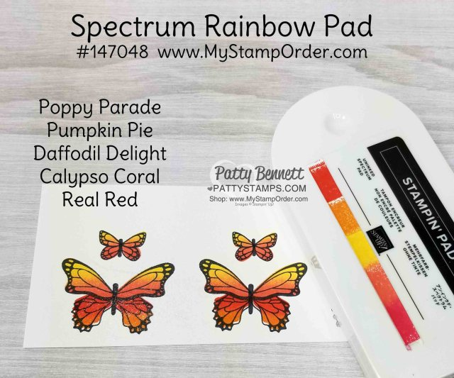 Stampin' UP! Spectrum Rainbow pad inked with reinkers for the Butterfly Gala stamp set. Patty Bennett, www.PattyStamps.com