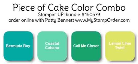 Stampin' UP! Color Combo Bermuda Bay, Coastal Cabana, Call me Clover and Lemon Lime Twist, by Patty Bennett www.PattyStamps.com