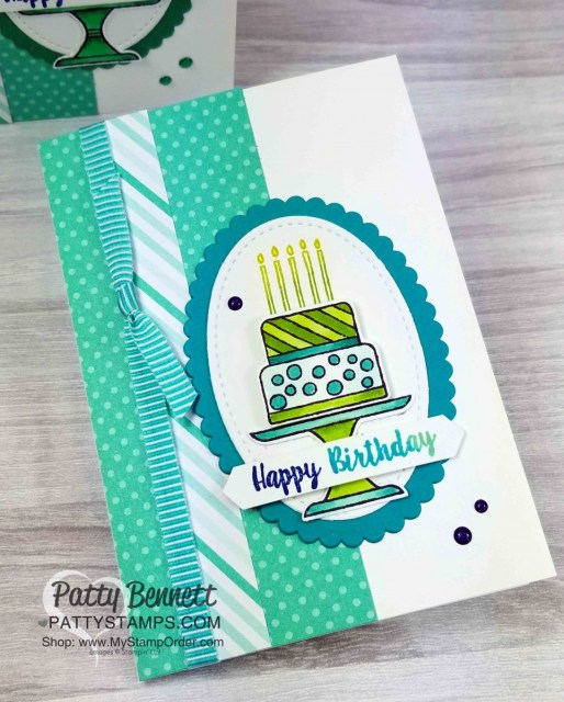 Stampin' UP! Piece of Cake stamp set and Cake Builder punch birthday card idea with Bermuda Bay ribbon, by Patty Bennett, www.PattyStamps.com