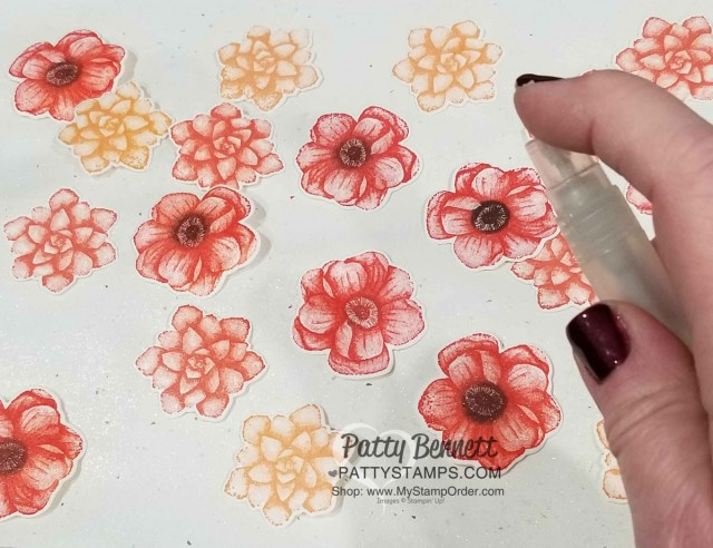 Painted Seasons Bundle - Limited time Sale-a-Bration 2019 gift offering from Stampin' UP!. Shimmer with Champagne Mist shimmer spray. By Patty Bennett www.PattyStamps.com