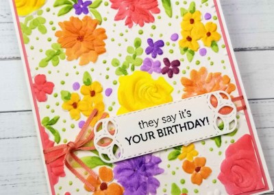 Stampin' Blends Markers on Country Floral Embossing Folder