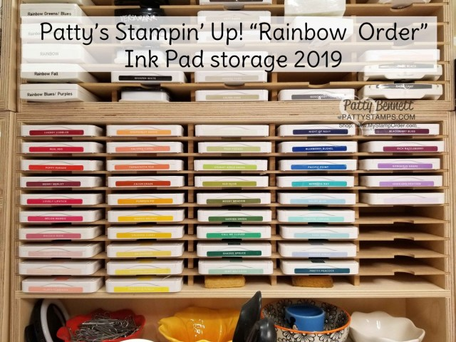 Patty's Rainbow Order for Stampin' UP! ink pads 2019-2020 catalog season including In Colors. www.PattyStamps.com