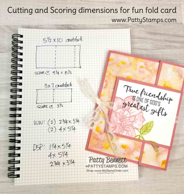 Cutting and Scoring dimensions for Stampin' UP! To a Wild Rose stamp set and Perennial Essence designer paper fun fold card idea. www.PattyStamps.com