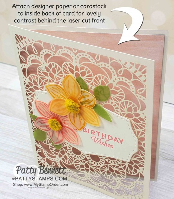 Stampin' Up! Bird Ballad Laser Cut detailed cards with Floral Essence stamp set and Perennial Flower punch! Featuring Perennial Essence vellum flowers. Birthday card idea from Patty Bennett